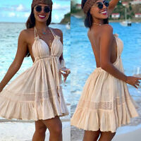 Sexy Womens Halter V Neck Backless Summer Party Beach Short Mini Dress Sundress