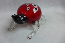 X Large Ladybug Murano Cristalleria D'Arte Art Glass  Colors Red Black Clear
