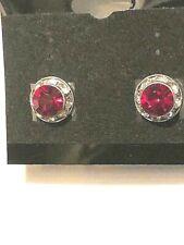 Swaroski Crystal Ruby Red Pierced Button Type Earrings Small Size