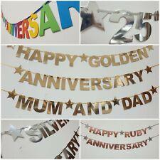 Personalised Wedding Anniversary Golden Silver Diamond banner Bunting Decoration