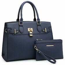Dasein Women Handbag and Purse Large Satchel Bags w/ Matching Wallet 2 Pcs Set