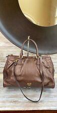 Authentic MCM Vintage Dark Metallic Brown Pebbled Leather Large Two Way Bag