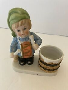 VTG BISQUE FIGURINE BOY IN GREEN HAT WITH DRUM BUNNY TEALIGHT CANDLE HOLDER