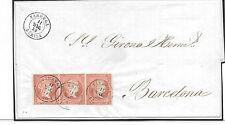 España. Carta con tira de tres sellos con matasello de fecha. Edifil nº 48