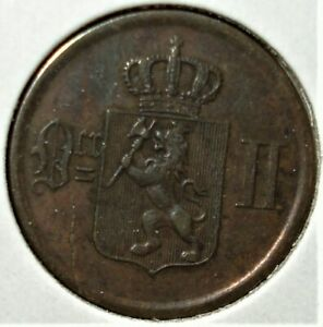 1877 Norway 2 Ore Coin with Plancet Mint Error
