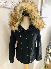 Topshop Petite Navy Fur Collar Coat Size 8 Hooded