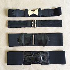 Lot Girls Juniors Fashion Belts Black Woven Stretch Bow Modern Obi Patent Leaher