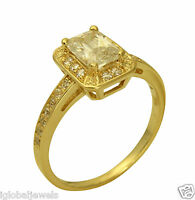 1.50Ct 14K Yellow Gold Emerald Cut Halo Engagement Wedding Propose Promise Ring