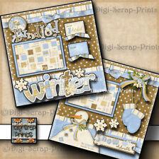 WINTER BUNDLE UP 2 premade scrapbook pages layout paper piecing SNOW ~ DIGISCRAP