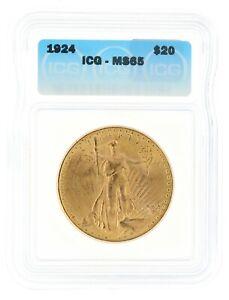 1924 Saint Gaudens ICG MS65 $20 Double Eagle Philadelphia Minted Gold Coin