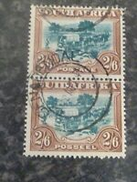 SOUTH AFRICA POSTAGE STAMPS SG49 2/6 PAIR VERY FINE USED