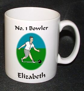PERSONALISED No. 1 BOWLER / FEMALE LAWN BOWLS MUG GIFT - BIRTHDAY / MOTHER'S DAY