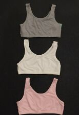 Fruit of the Loom Sz 36 Womens Tank Style Sports Bra Yoga Fitness 3 Pk Pink Gray