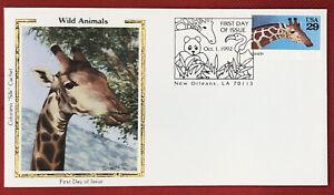 ZAYIX -1992 US FDC Colorano #2705- Wildlife Zoo Animals - Giraffe