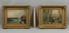 Pair Small 19thC Antique Birch Tree Landscape & Seagull Seascape Oil Paintings