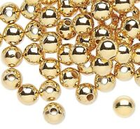 100 Gold Plated Brass Smooth 4mm Round Metal Beads with 0.8mm Hole