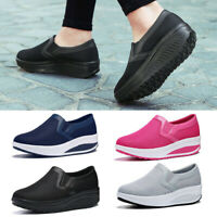 Women Wedge Shoes Platform Sneakers Casual Loafers Slip On Mesh Breathable-Size