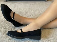 New Look Wide Fit Black Faux Suede Mary Jane Flat Pump Size 8 EUR 42 New