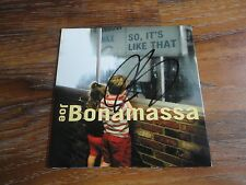 "JOE BONAMASSA SIGNED ""SO IT'S LIKE THAT"" CD COVER AUTOGRAPHED COA RARE GUITAR"