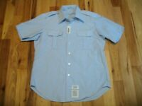 Military Police Army Bootcamp Style Blue Short Sleeve Button Up Shirt Mens 17