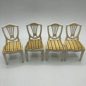 Vintage 1970s Lundby Dollhouse Funiture Royal Dining Room Chairs - Set Of 4