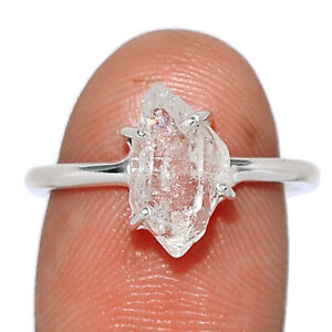 Herkimer Diamond - USA 925 Sterling Silver Ring Jewelry s.6.5 BR101799