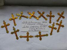 PROMO : lot 12 ancienne croix bout Trefle Laiton et Cuivre FRANCE 1930 CRUCIFIX