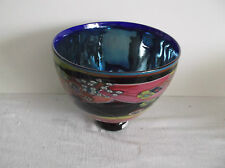 Wes Hunting Bowl Glass Dirty Flame Bowl Hand Made Blue, Pink & Yellow  Signed