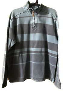Fat Face Men's 1/4 Zip Sweatshirt Blue Stripes - Size S