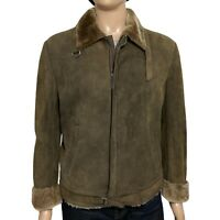Armani Collezioni Shearling Sheepskin Suede Aviator Jacket Mens Taupe 48 38 S