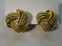 Vtg Quality Statement Retro Clip-On Earrings Knot Rope Shape Gold Tone Nautical