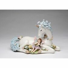 "Music Box ""Unicorn With Fairy"" White+Blue+Pink Porcelain Figurine-80076-Nais"