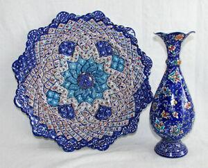 Handmade Persian Enamel Art Mina Kari Wall Hanging Plate & Vase Enamelled SET