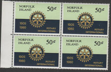 Rotary International 75th Anniversary Norfolk Island 1980 Block of 4 MNH