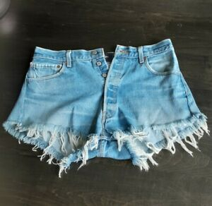 NWOT Nasty Gal After Party Upcycled Denim Levi Shorts Inseam Size 32.