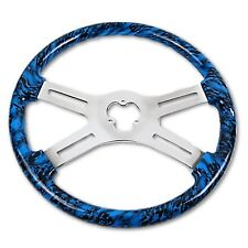 "18"" Blue Skull Steering Wheel Big Rig Semi Truck Freightliner Kenworth Peterbilt"