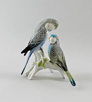 9997708 Porzellan Figur Vogel Ens Wellensittich-Paar blau 16x16x12cm