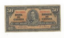 **1937**Canadian $50 Dollar Note BC-26b,  Gor/Tow SN# B/H 0194048