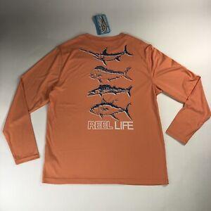 Reel Life Sun Ray Defender Performance Shirt Pelagic Cantaloupe Shirt Men Size L