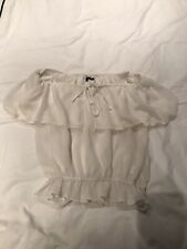 RIVER ISLAND WHITE OFF THE SHOULDER BABY DOLL TOP SIZE 8