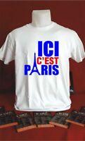 t-shirt personnalisé football ici c'est paris psg cadeau fête humouristique T081