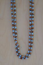 "60"" Turquoise Navajo Ghost/Cedar Beads Necklace. Juniper Berry by L. Bitsoie."