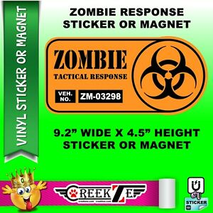 """Zombie Tactical Response Vehicle 9.2"""" wide x 4.5"""" high bumper sticker or bumper"""