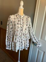 Ann Taylor Factory Floral Peplum Ruffle Top blouse shirt long sleeve sz Medium