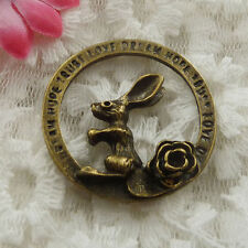 Free Ship 13 pieces bronze plated rabbit pendant 33mm #723