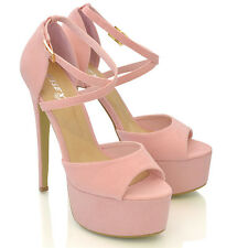 Womens Strappy Platform Peep Toe Stiletto Sandal Ladies High Heel Shoes Size 3-8
