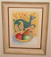 """14 x 8 """"Etruscan Still LIfe"""" Crayon Drawing-1993-August Mosca"""