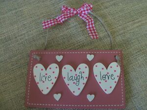 Wooden plaque, rectangle, live laugh love. Jute hanger with gingham bow.