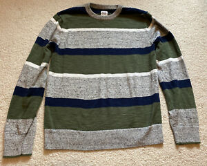 Gap Kids Boys Green/Blue/Gray Striped Long Sleeve Sweater Size XXL