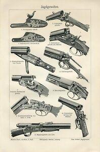 1898 OLD HUNTING GUNS RIFLES COLT DREYSE SAUER & SOHN Antique Engraving Print